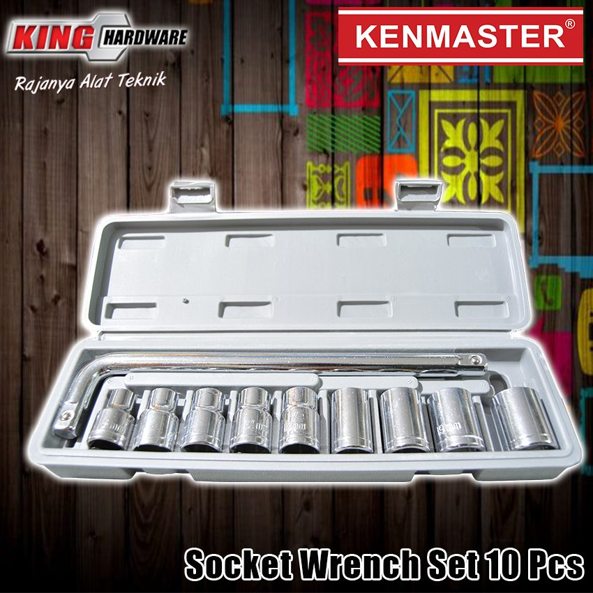 "Kunci Sok Set Kenmaster 1/2"" 6 PT 8-21 MM 10 Pcs PVC"