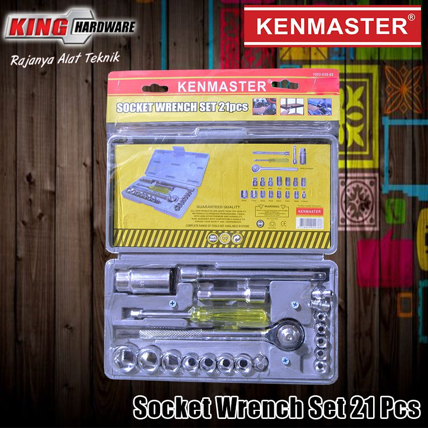 "Kunci Sok Set Kenmaster 1/2"" 6 PT 4-19 MM 21 Pcs MIKA"