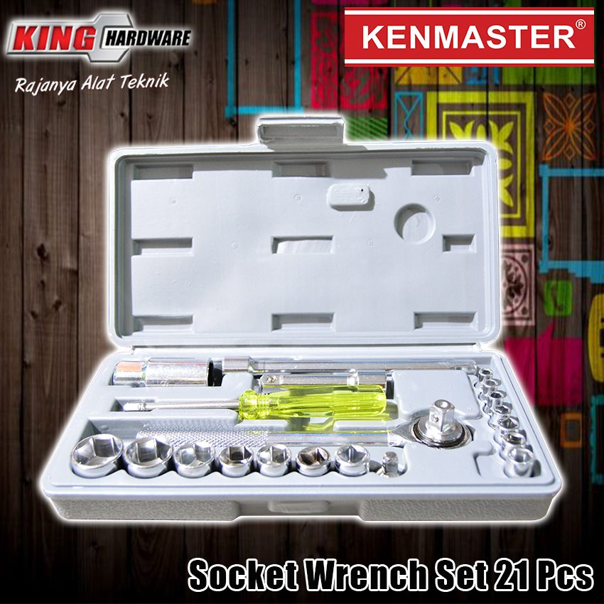 "Kunci Sok Set Kenmaster 1/2"" 6 PT 4-19 MM 21 Pcs PVC"