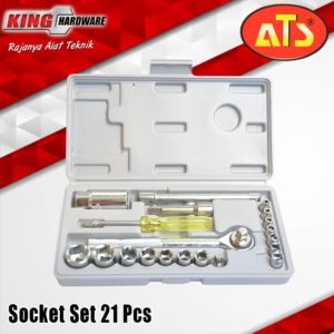 "Kunci Sok Set ATS 3/8"" 6 PT (4-19) mm 21 Pcs PVC"