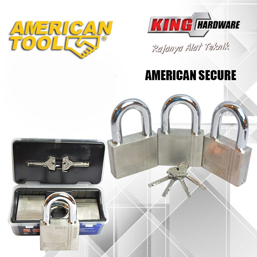 Gembok Key Alike 70 mm (3 Pcs) American Secure - Anti Potong