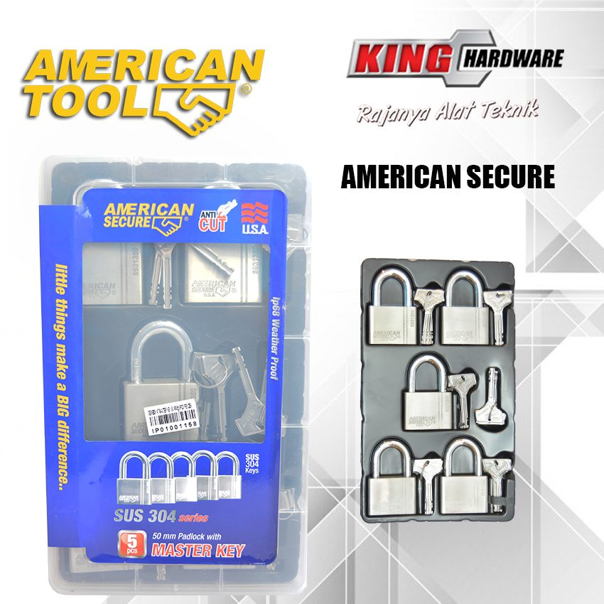 Gembok Key Alike 50 mm (5 Pcs) American Secure - Anti Potong