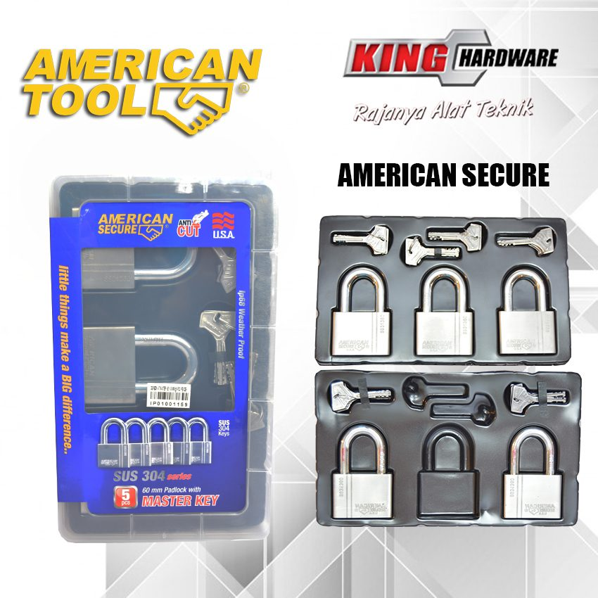 Gembok Key Alike 60 mm (5 Pcs) American Secure - Anti Potong