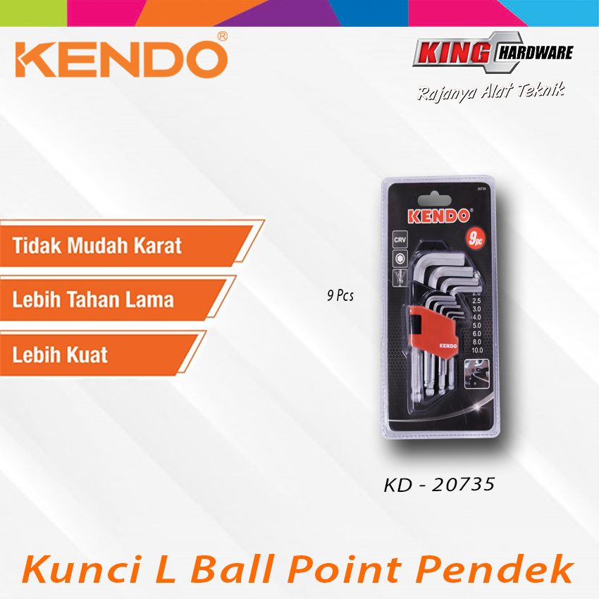 Kunci L Ball Point Pendek 9 Pcs (KD-20735)