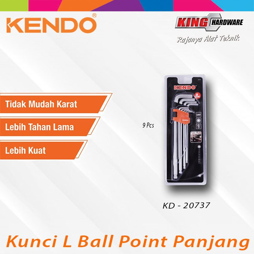 Kunci L Ball Point Extra Panjang 9 Pcs (KD-20737)